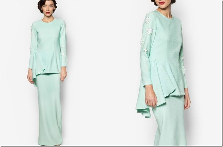 7 Sweetest Pastel Mod Kurung Ideas For Your Eid 2016 Wardrobe / mint-green-crepe-modern-kurung