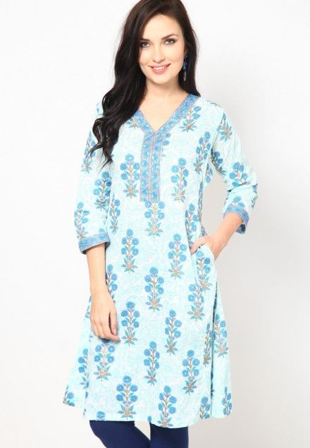 Printed Cotton A-Line Blue Kurta 25€