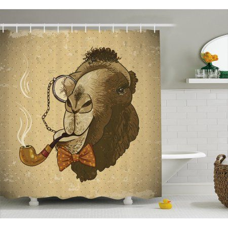 Animal Shower Curtain Pop Art Stylized Hipster Camel With Pipe And Monocle Vintage Humor Fun