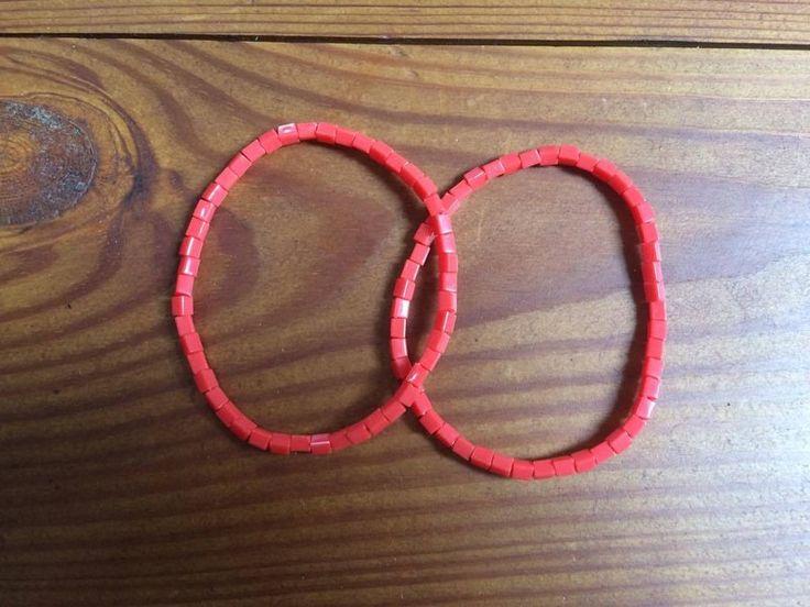 červené korálkové náramky z H&M  #red #červená #korálky #náramek #armband