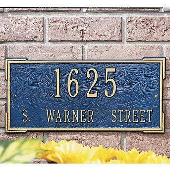 "Standard Roanoke Plaque - Black with White Letters, Wall - Frontgate by Frontgate. $99.00. 16-1/2""L x 7-3/4""H, 4 lbs. 3"" numbers on first line. 1-1/4"" characters on second line."