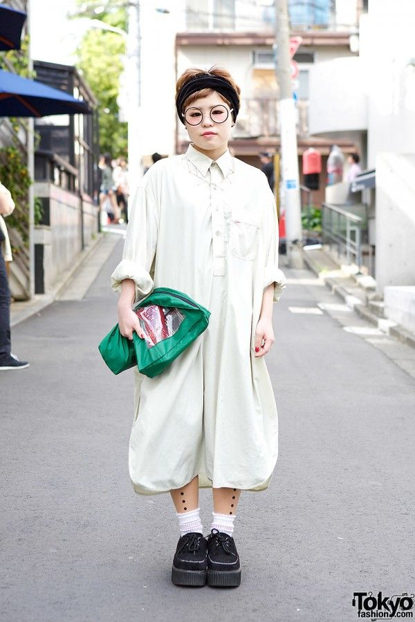 Kakavaka Maxi Shirt Dress w/ Round Glasses, Short ...
