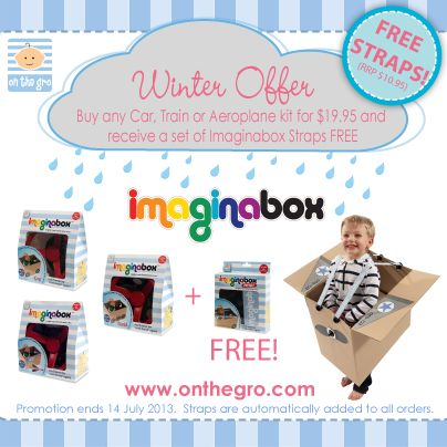 {WINTER OFFER}    We have a fantastic Imaginabox® offer starting today!    Purchase any Car, Train or Aeroplane kit for $19.95, and receive a set of Imaginabox® Straps FREE*!     Just visit www.onthegro.com - place your order - and the straps will be automatically added to your order!     HURRY! This offer ends 14 July 2013!      Mel x    #indoorplay #winterplay #imaginabox #onthegro