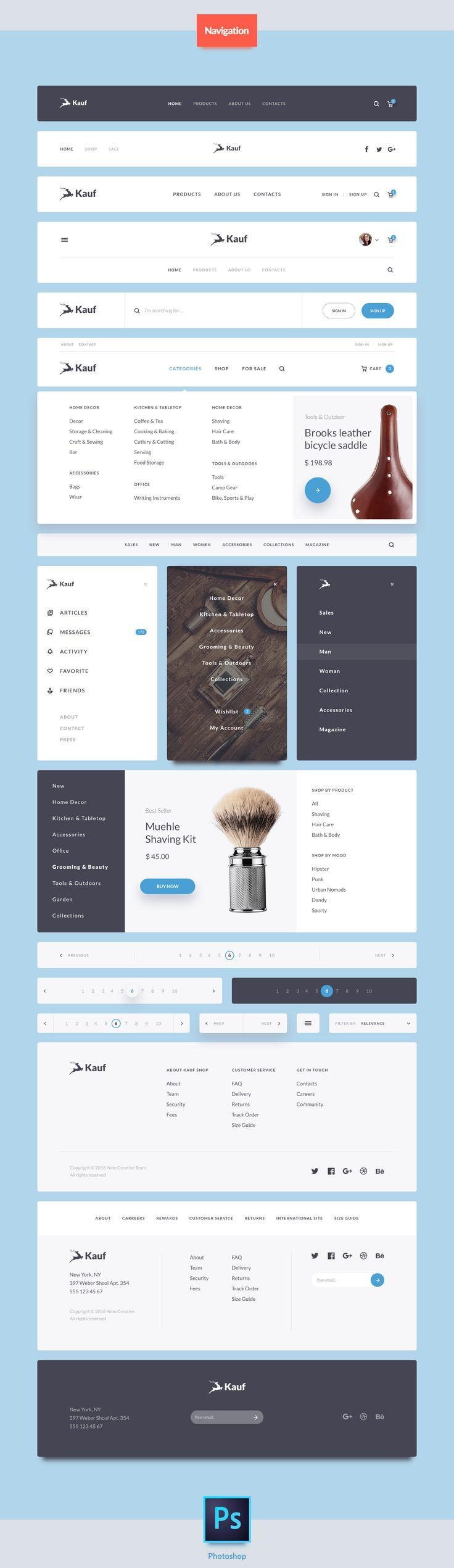 Kauf is a UI Web Kit crafted in Photoshop and designed for help you in your next awesome web project. This pack comes with 200+ design elements vector based and 7 categories (Articles, Ecommerce, Forms, Headers, Navigations, Widgets, Elements) to give a s…