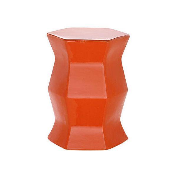 Laurel Geometric Garden Stool Orange Garden Stools (485 SAR) ❤ liked on Polyvore featuring home, outdoors, patio furniture, outdoor stools, orange, orange outdoor furniture, ceramic garden stools, ceramic side table, orange patio furniture and orange ceramic garden stool