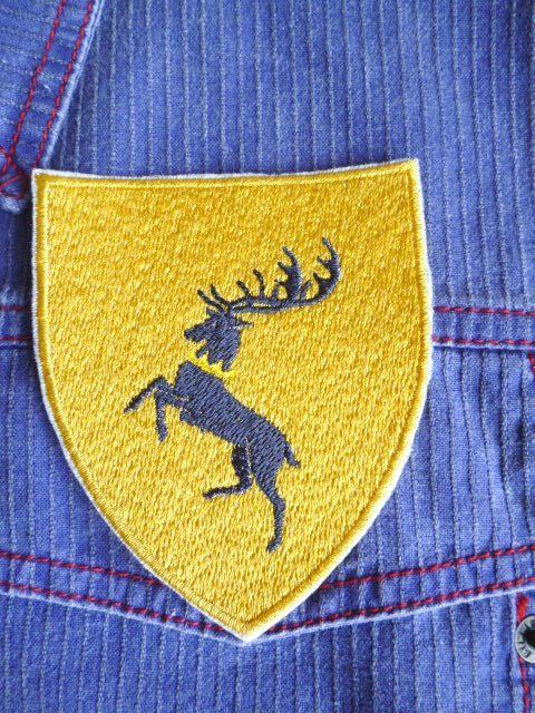 Game of Thrones styled sigil - House Baratheon iron-on patch/badge by Trufio on Etsy
