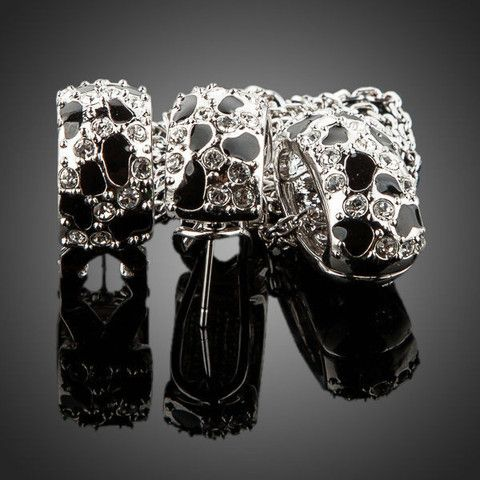 Platinum Plated Leopard with Rhinestone Earrings and Necklace Jewelry | Stylish Beth
