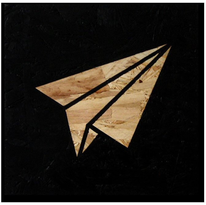Paper Plane, Acrylic Painting on Board, OSB Art, Wood Wall Decor, Interior, Plane sign,  Painting, Black Icon, Handmade, Original by Meks by osblove on Etsy https://www.etsy.com/listing/256080011/paper-plane-acrylic-painting-on-board