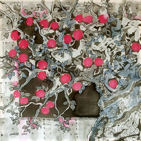 Apple Tree - Silk Painting - Marie Adamyan