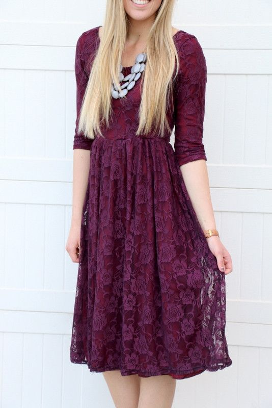 Plum lace cocktail dress