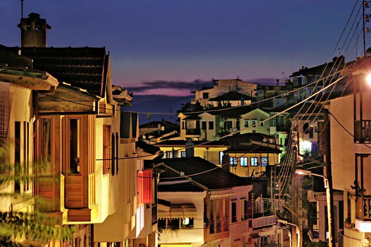 Night view of Ano poli, (Old town), THESSALONIKI