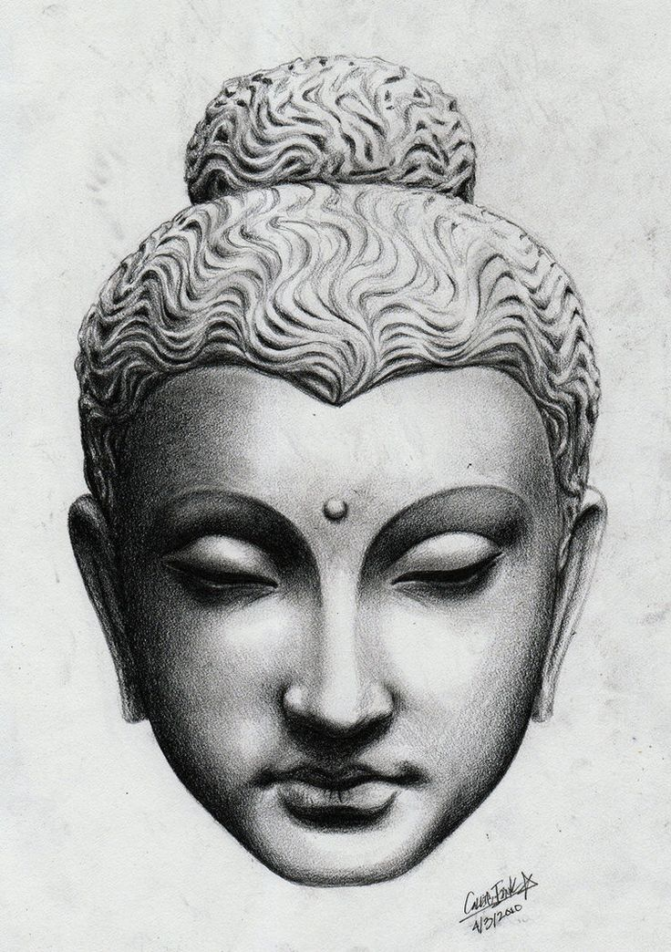 Wonderful Buddha head statue tattoo design