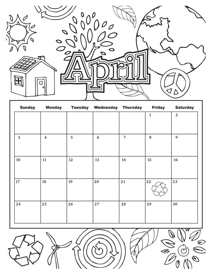 coloring calendars sector pages - photo#4