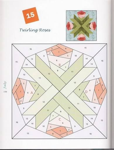 Twinkling Rose Foundation Paper Pieced Pattern