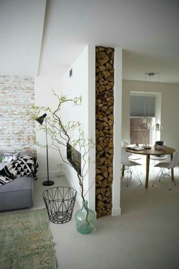Love the fire wood in the wall