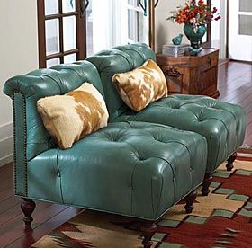 King Ranch #Turquoise leather chairs. If only I had a big enough living room I would have these!!