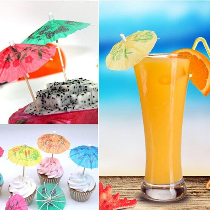 EAWE Creative Paper Flowers to Decorate A Small Umbrella Sign DIY Accessories for Cake Fruit Ice Creams Cocktails * Special discounts just for this time only  : Free Home and Kitchen