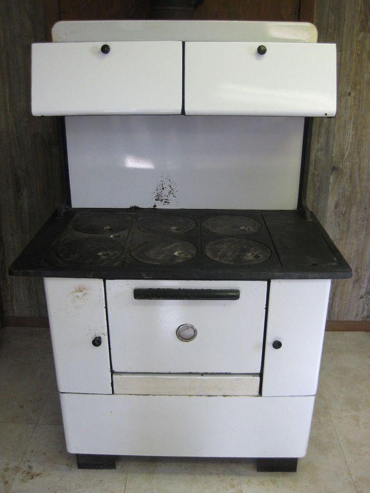 Sears Roebuck Wood Burning Cook Stove 6 Burner Oven Vintage White Ebay