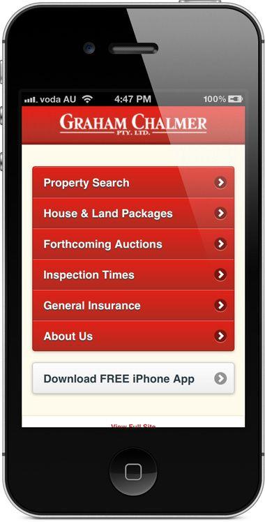 chalmer.com.au - mobile website - menu.