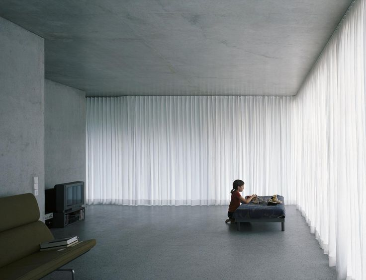 Interior of the Forsterstrasse project by Christian Kerez. Beautiful white opaque curtains.