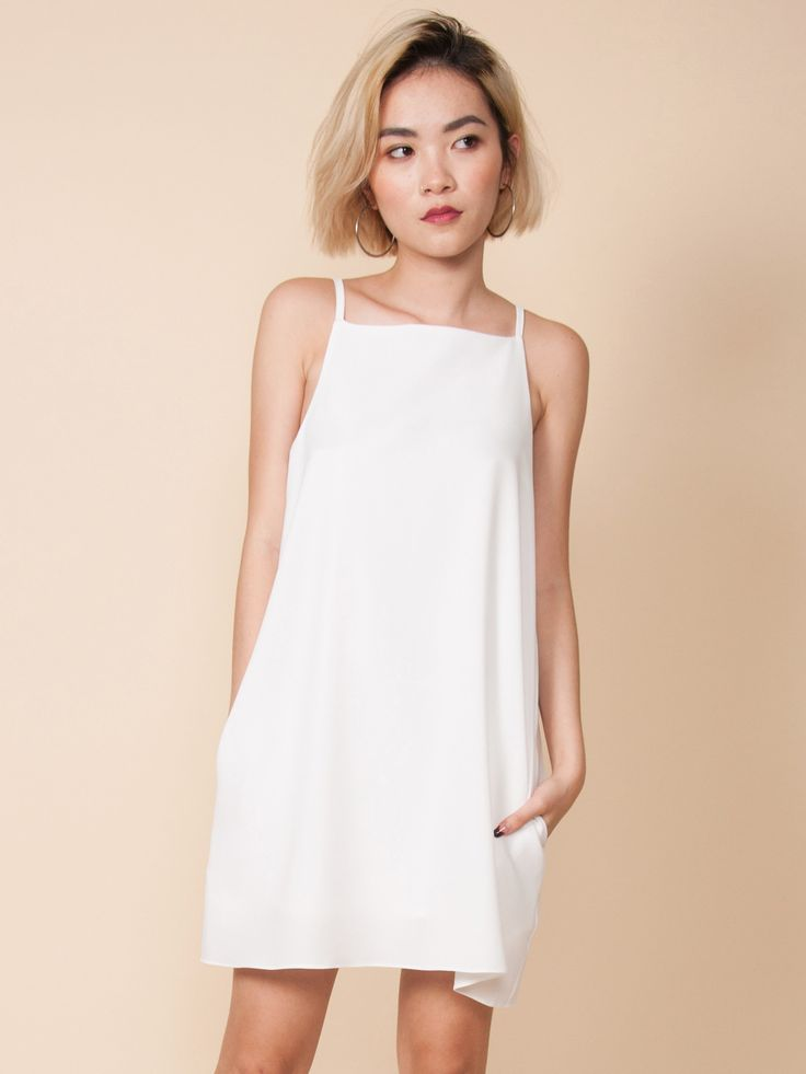 LIVVY Slip Dress with Pockets (White)