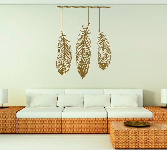 Feather Wall Decal Stickers Tribal Wall Art Boho by FabWallDecals
