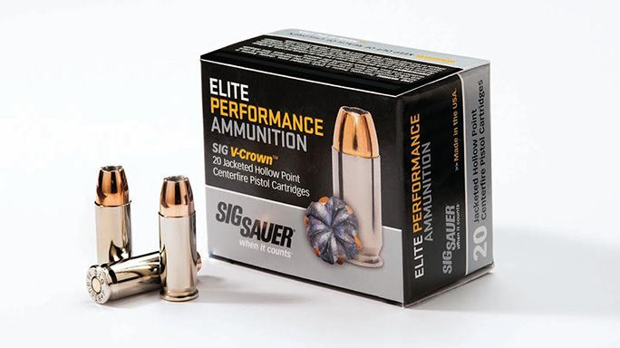 The all new 125gr .38 Super +P Elite Performance Ammunition from Sig Sauer features a muzzle velocity of 1,230 feet per second.
