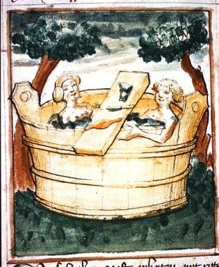 London, British Library, Add. 17987, folio 111v. Man and woman in tub bath Manuscript Source	London, British Library, 15th c.