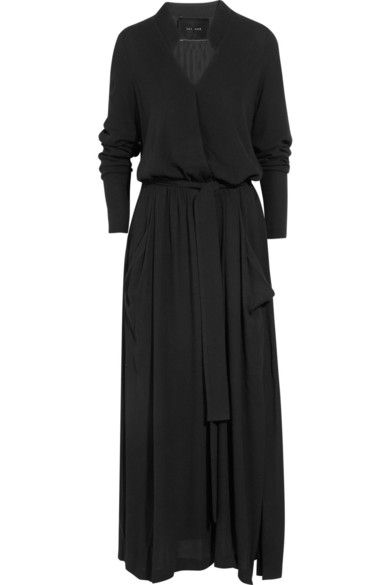 Black crepe Concealed slit at centre of bodice, gathered elasticated waist, sash tie, two pouch pockets, splits at sides Ties at waist 100% viscose Dry clean