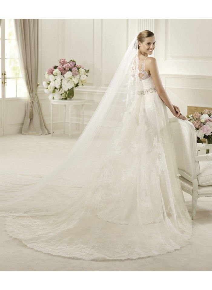 Empire A-line Lace Spaghetti Straps Beading Belt Applique Brush Train Wedding Dresses WE4297