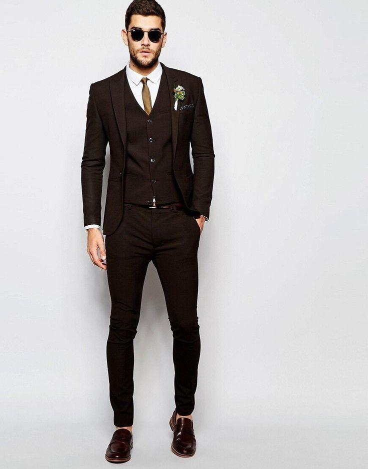 Moda Brown Novio Esmoquin Padrinos de boda para Hombres Trajes de Fiesta de La Boda Del Novio (Jacket + Pants + Vest + Tie) en Trajes de Bodas y Eventos en AliExpress.com | Alibaba Group