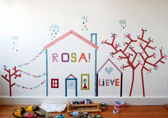 These DIY temporary washi tape murals provide a pop of color that lasts as long as your whims.