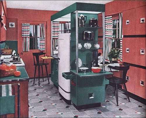 From Boing Boing: a 1950s 'contemporary' kitchen. Having just renovated a house (only 25 yrs old, not 63, but still...) I'm appreciating kitchen design. I'm also appreciating quartz counters vs. formica (or plywood, as we had as an interim step).