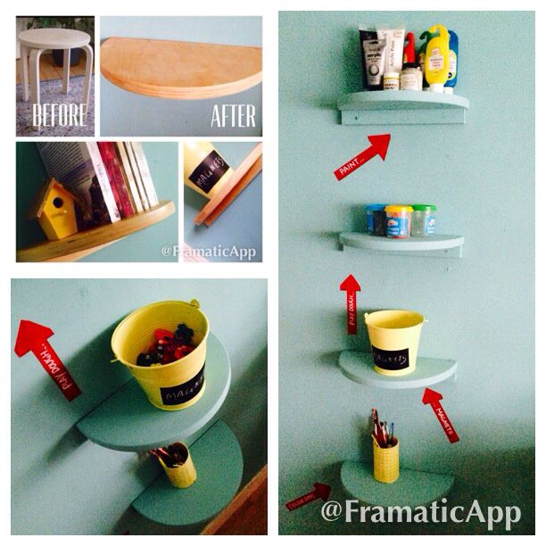 ikea frosta stool turned into shelves check it out at. Black Bedroom Furniture Sets. Home Design Ideas