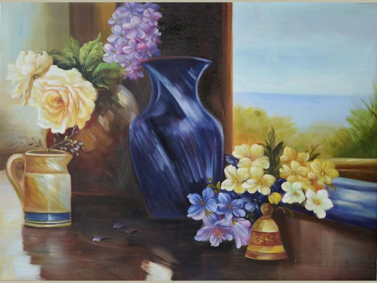 ORIGINAL Oil Painting Spring Feelings 40 x 30 Floral Brush Colorful Lilac Roses Vase Window Blue Still life Realism Blue Sky Huge ART by Marchella Piery