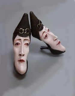 Gwen Murphy upcycles old shoes into sculpture.  wicked weird!