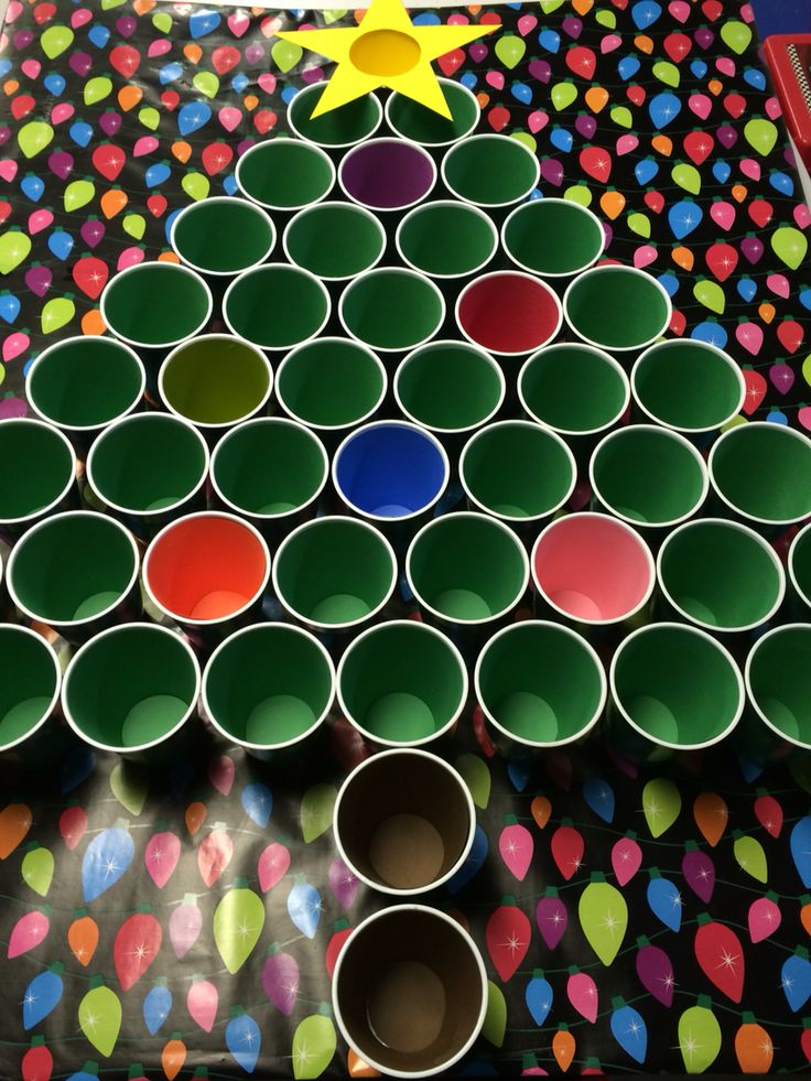 """Christmas Tree Cup Toss - Throw ping pong balls into specially colored """"ornaments"""" on tree. By Becky Niemiec"""