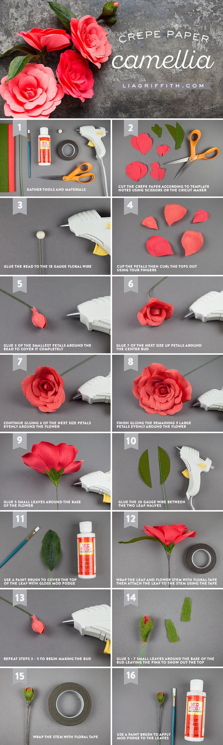 Go with the flow(er)! Join the crepe paper revival and create some gorgeous camellia flowers to adorn your home. So simple...