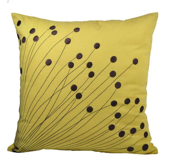 Flower Burst Pillow Cover, Decorative Pillow for Couch, Dark Brown Flower on Citrine Yellow Linen, PIllow Case 18 x 18, Pillow Accent