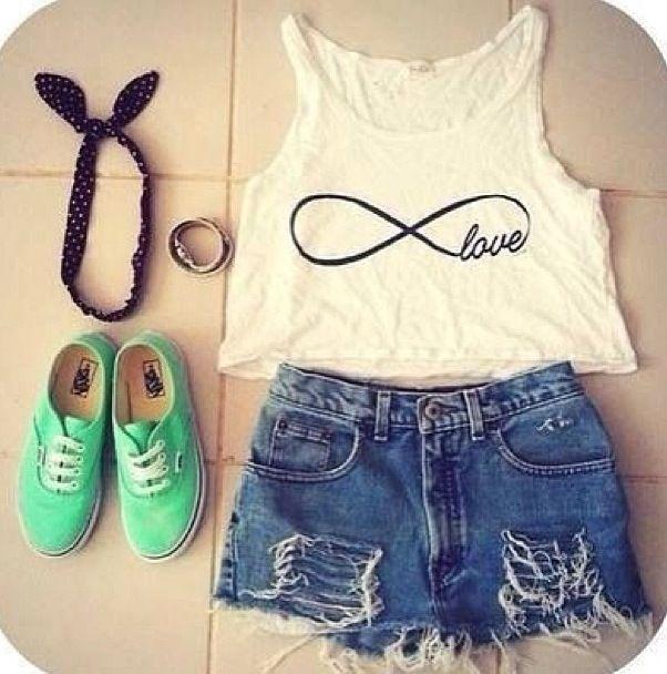 Infinity Shirt, High- Waisted Shorts, Tie Headband, Mint Vans, and Cute Braclet