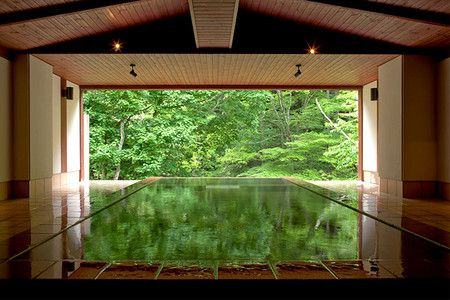 Japanese indoor pool and garden doors with fantastic green views. - [Myojinkan] - 扉温泉・明神館 - Matsumoto, Nagano, Japan