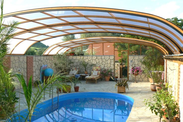 Retractable pool enclosure indoor or outdoor pool for Telescopic pool enclosures