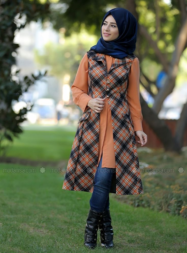 Plaid Trench Vest - Orange - Zehrace