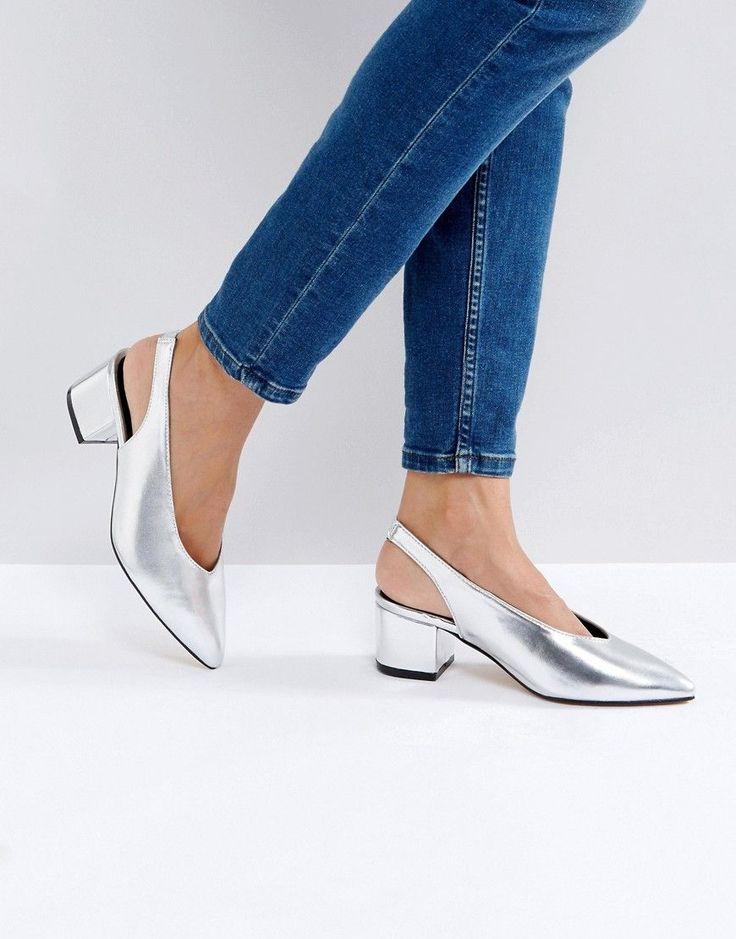 Truffle Collection High Topline Sling Kitten heel Shoes - Silver