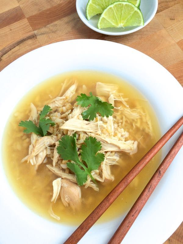 Slow Cooker Ginger Chicken and Rice Soup - The Lemon Bowl