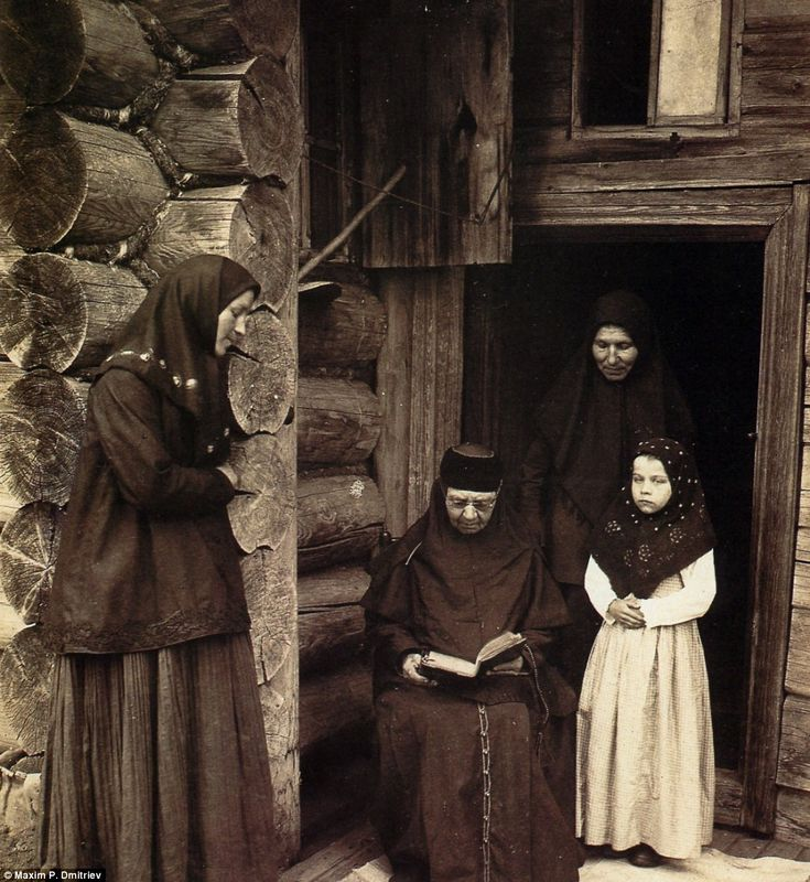 Old Believers in prayer in 1897. When the Bolsheviks swept into power, many Old Believer communities fled to Siberia to escape religious persecution