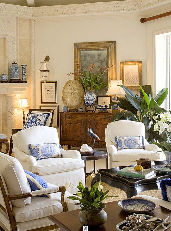Cream, white, blue, wood, stone, gilt, plants, lots of textures....