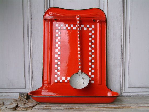 Vintage french enamel utensil rack with ladle. Red by Chanteduc
