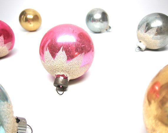 Shiny Brite Christmas Ornaments Glass Set Pastel by hensfeathers, 49.00