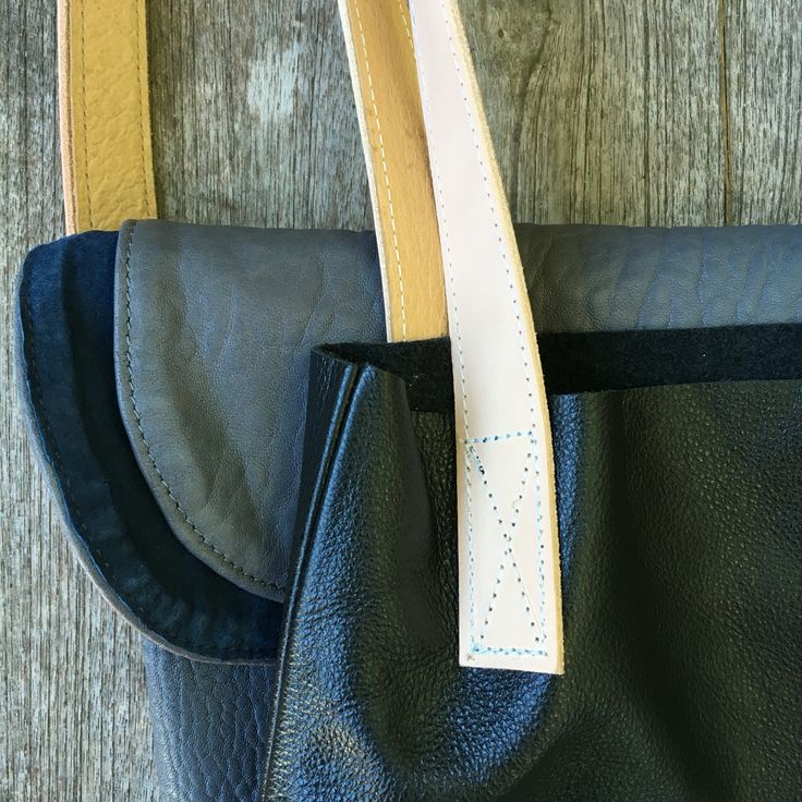 Chloe in grey leather lined with blue suede